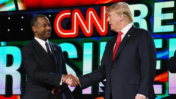 Ben Carson and Donald Trump at the CNN presidential debate at The Venetian Las Vegas in December.