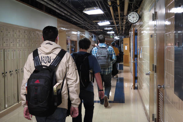 Students walk the halls in Kutztown Area High School.