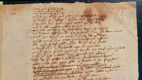 A section of the only surviving script in Shakespeare's handwriting.