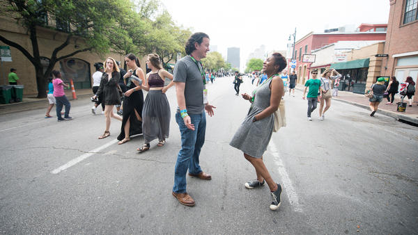 <em>All Things Considered </em>host Audie Cornish and NPR Music's Stephen Thompson explore Austin during the 30th South By Southwest festival.