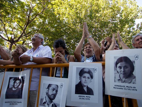 Relatives and friends of victims hear news of the sentences handed down to Jorge Rafael Videla and other past junta leaders in Cordoba, Argentina, on Dec. 22, 2010. Videla was sentenced to life in prison for crimes against humanity.