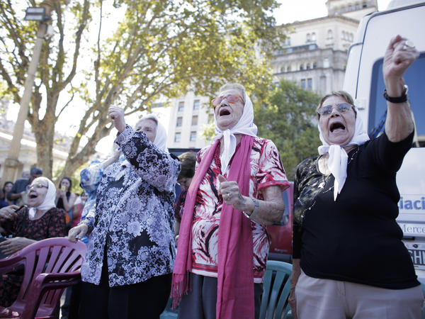 Members of the Mothers of Plaza de Mayo human rights group demand information about missing relatives during their traditional Thursday march in Buenos Aires on March 3. The women began demonstrating in 1977.