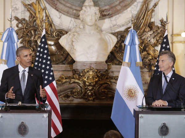 President Obama announced the declassification of new documents at a Wednesday news conference with Argentine President Mauricio Macri at the Casa Rosada Presidential Palace in Buenos Aires.