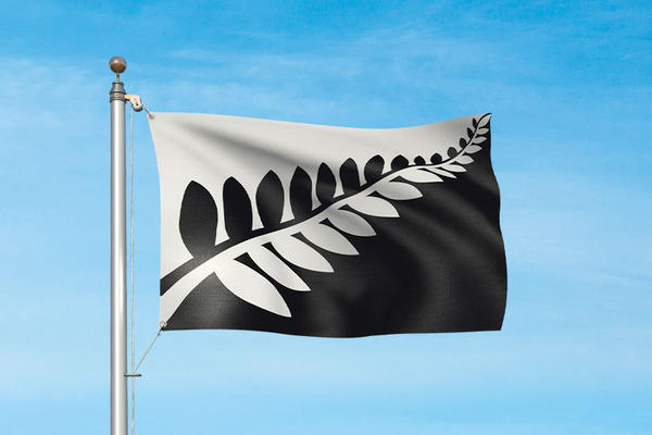 "The ""<a href=""https://www.govt.nz/browse/engaging-with-government/the-nz-flag-your-chance-to-decide/the-five-alternatives/silver-fern-black-and-white/"">Silver Fern (Black and White)"" design</a> featured, like four of the other finalists, a silver fern. Designer Alofi Kanter described it as ""strong and simple."""