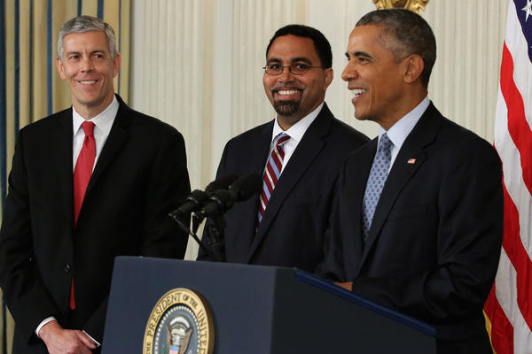 President Obama announces his nomination of Deputy Education Secretary John B. King Jr. (center) to be the next head of the Education Department, replacing Education Secretary Arne Duncan (left).