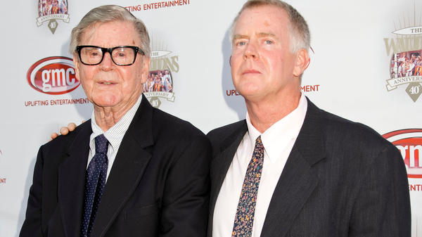 Earl Hamner Jr. and son Scott Hamner attend the 40th-anniversary reunion of <em>The Waltons </em>in Los Angeles in 2012.