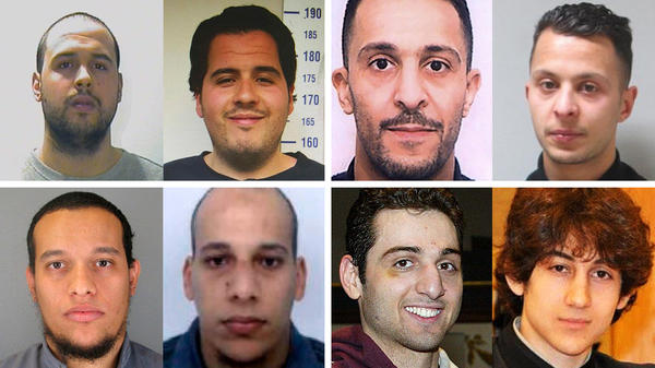 Brotherly bonds (clockwise from left): Khalid and Ibrahim el-Bakraoui were suicide bombers in Brussels. Brahim and Salah Abdeslam were involved in last November's Paris attacks. Dzhokhar and Tamerlan Tsarnaev bombed the Boston Marathon in 2013. Cherif and Said Kouachi committed the January 2015 attack on the French satirical magazine <em>Charlie Hebdo</em>.