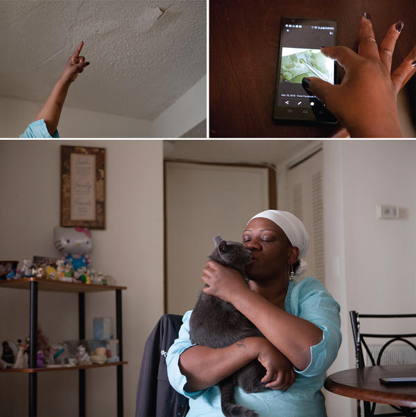 Pamula Glover points to cracks in her ceiling caused by water damage (top left) and goes through her photos on her phone of other problems in her apartment (top right). Glover, who lives with her two cats, doesn't feel safe (bottom).