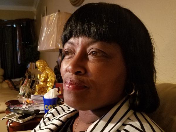 Barbara Mills, mother of Brittney Mills, in her living room in Baton Rouge, La.