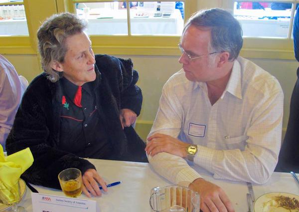 John Elder Robison speaks with world-renowned autism spokesperson Temple Grandin in Bakersfield, California in 2011. (jerobison.blogspot.com)