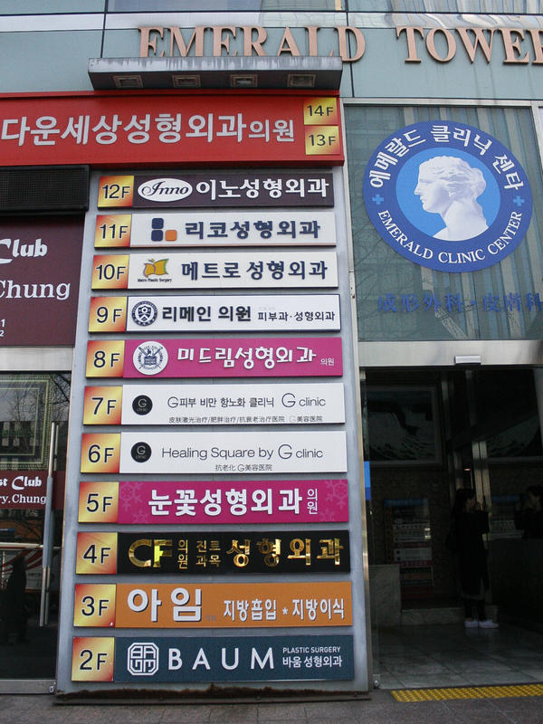 A floor-level guide to a multistory building in Seoul's Gangnam district shows a different cosmetic surgery clinic on every floor.