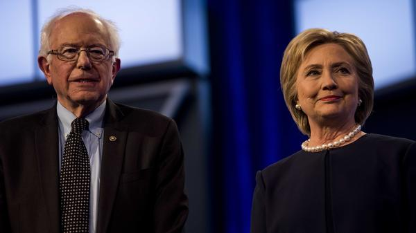Former Secretary of State Hillary Clinton and Sen. Bernie Sanders during a debate last month in Miami.