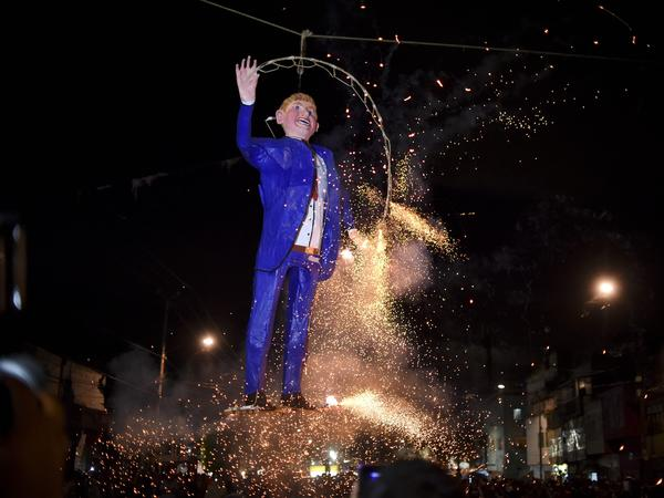 Mexicans set fire to an effigy of Donald Trump during Holy Week celebrations in Mexico City on March 26.