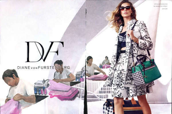 Gomez takes ads for luxury products and imagines the individuals who make them possible. Above, his 2015 work, <em>DVF.</em>