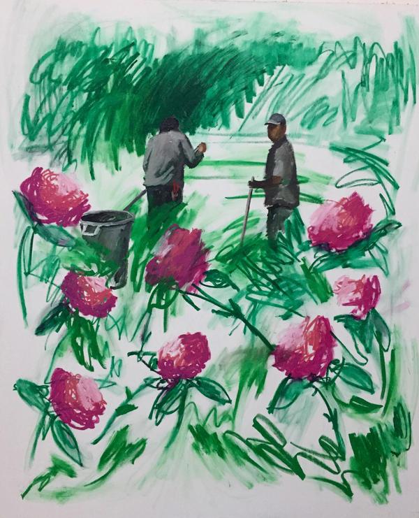 Workers tend a garden in Gomez's 2015 <em>Jardín no 1.</em>