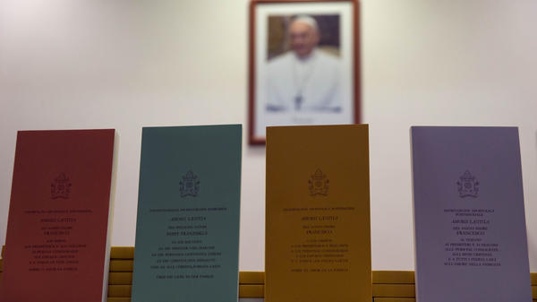 """Copies of the post-synodal apostolic exhortation """"Amoris Laetitia"""" (The Joy of Love) are on display at a press conference at the Vatican on Friday. In it, Pope Francis writes that individual conscience should be the guiding principle for Catholics negotiating the complexities of sex, marriage and family life."""