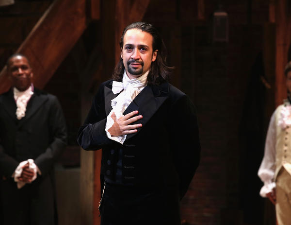 Lin-Manuel Miranda appears in <em>Hamilton's</em> opening night at the Richard Rodgers Theatre in New York City, in August 2015.