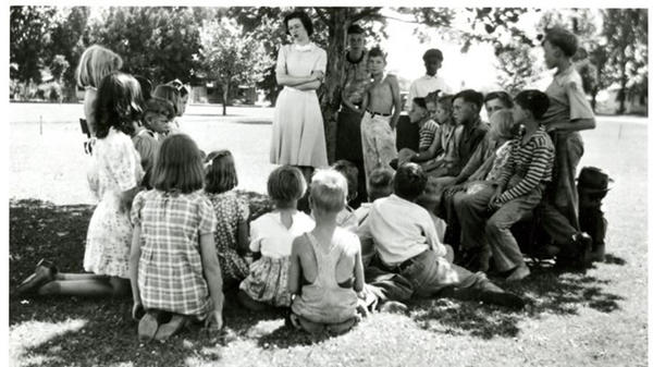 """Beverly Cleary, shown during a story hour in the park, was a children's librarian before she became an author. """"Boys particularly asked: Where were the books about kids like us? And there weren't any at that time,"""" she recalls."""