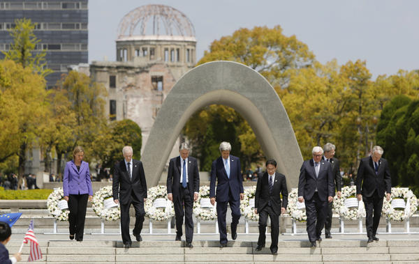 U.S. Secretary of State John Kerry (fourth from left) joins other G7 foreign ministers after placing wreaths at the cenotaph at the Hiroshima Peace Memorial Park on Monday in Japan. Kerry became the highest-ranking U.S. official to visit Hiroshima.