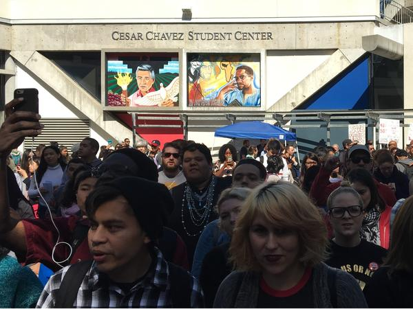 Ramirez, center, at a protest at San Francisco State University. Students were demanding more funding for Ethnic Studies, a field Ramirez says helped him better understand his Latino identity.