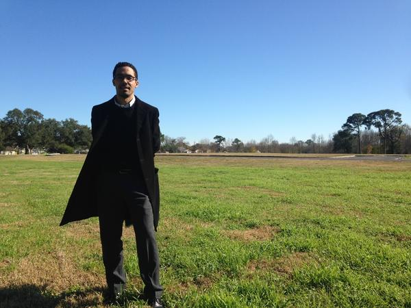 Jeff Hebert, who is leading New Orleans' efforts to adapt to rising sea levels, stands at the site of the future Mirabeau Water Garden, a federally funded project designed to absorb water in residential Gentilly.