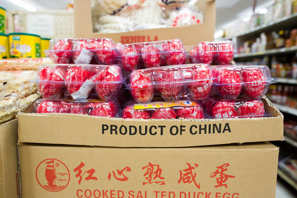 """Duck eggs from China for sale at the Bangkok Market. Chef Louis Tikaram said he """"walked down the aisles and I knew I could get everything."""""""