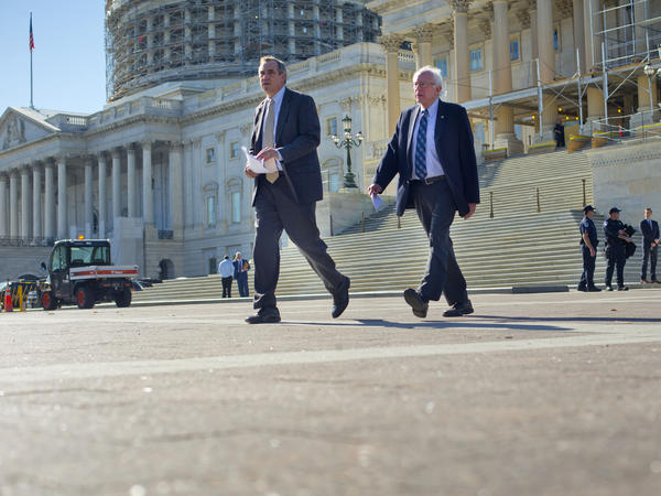 Democratic presidential candidate Sen. Bernie Sanders, I-Vt., (right) and Sen. Jeff Merkley, D-Ore., are shown on Capitol Hill in Washington, D.C., last November. Merkley has backed Sanders, which could help him in Oregon's May 17 primary.
