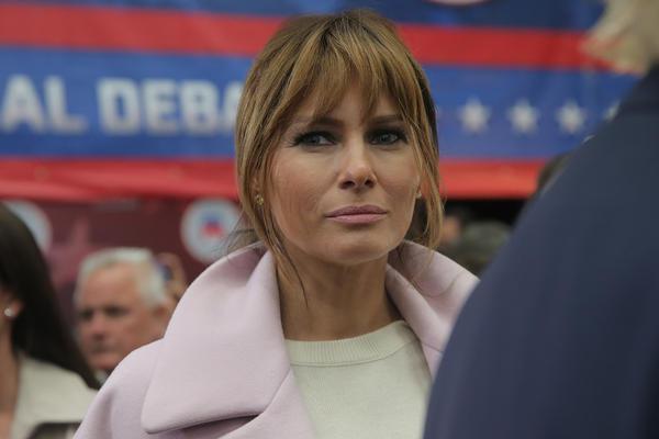 Melania Trump in the spin room after the CNBC Republican presidential debate last October in Colorado.