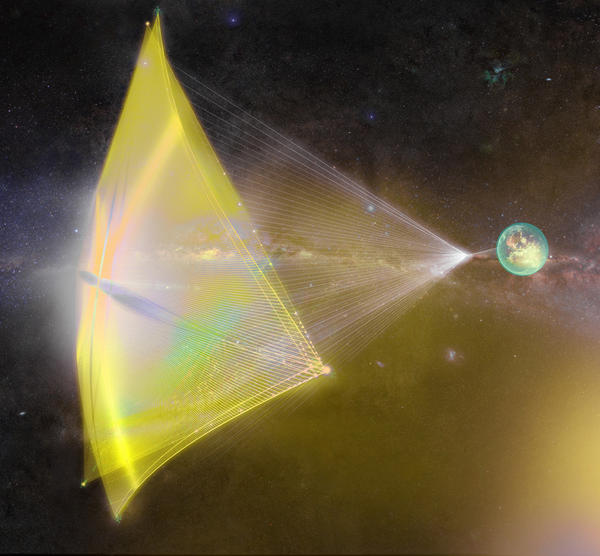 """The """"starchip"""" would be about the size of a postage stamp, Yuri Milner says, and the sail would be about a yard across."""