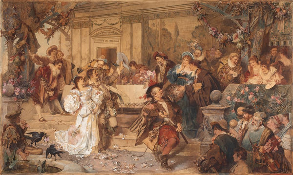 Petruchio takes Katherine as his bride in <em>The Taming of the Shrew</em>. He stole her away between their wedding and reception, then starved her into submission.
