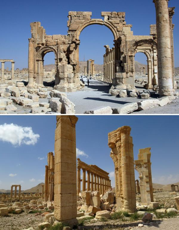 A combination of images shows a general view (top) taken on June 19, 2010, of Palmyra's Arch of Triumph — before it was destroyed by Islamic State jihadists in October 2015 — and the remains of the structure after government troops recaptured the ancient city from IS fighters on March 27.