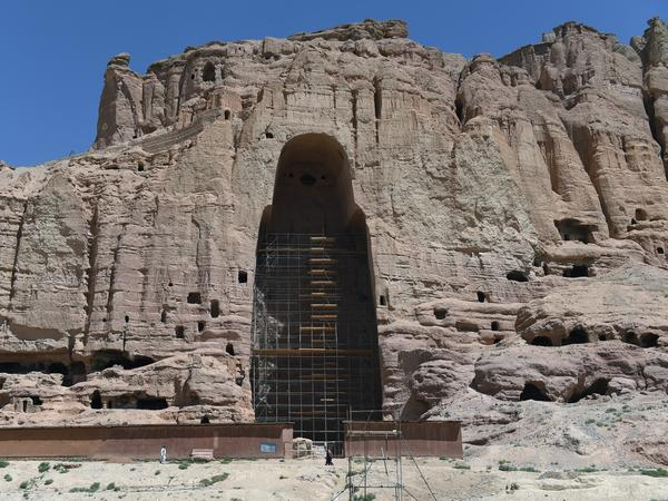 A giant Buddha statue stood for 1,500 years in this cliffside niche in Bamiyan, Afghanistan. The Taliban blew the statue up, along with a companion Buddha figure, in 2001. There is debate over how and whether to restore the Buddhas.