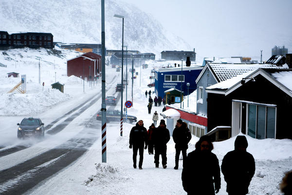 A view of Aqqusinersuaq Road leading into the center of Nuuk.