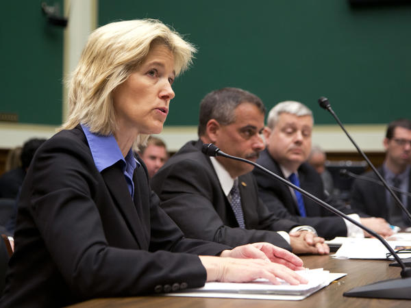 FBI Executive Assistant Director for Science and Technology Amy Hess (from left) testifies on encryption Tuesday before a House panel, alongside the New York City Police Department's Thomas Galati and Indiana State Police Office Capt. Charles Cohen.