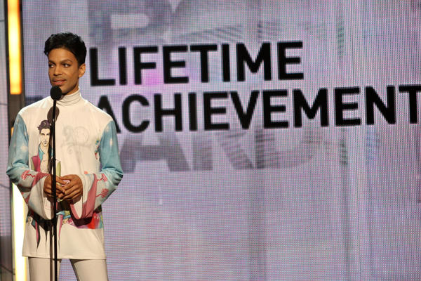 Prince accepts the Lifetime Achievement Award during the 2010 BET Awards at the Shrine Auditorium in Los Angeles.