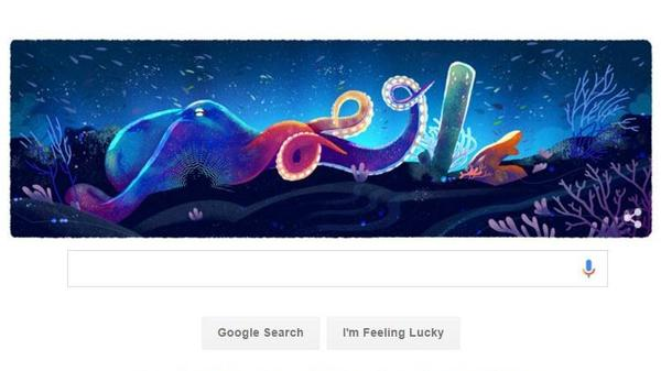 "Google unveiled five different ""doodles"" for Earth Day, including this image of an octopus and a coral reef."