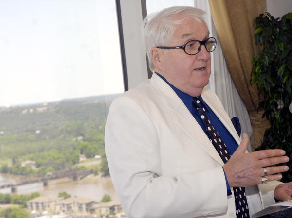 """Duane """"Dewey"""" Clarridge, a CIA veteran, speaks in May 2007 during an Arkansas Committee on Foreign Relations luncheon in Little Rock, Ark. The retired spy criticized the CIA's leadership and said a lack of human intelligence had led to mistakes in Iraq, Iran and North Korea."""