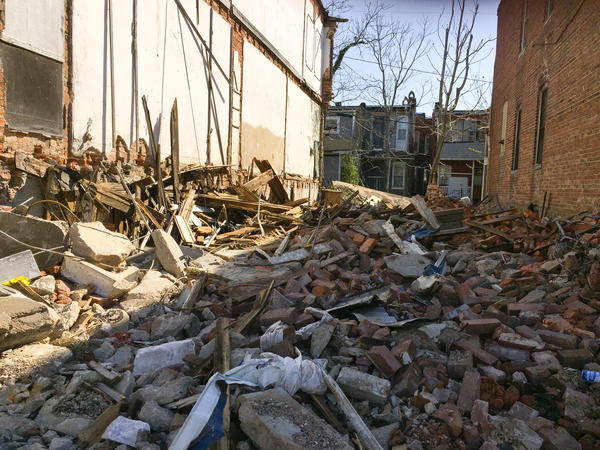 One of the abandoned houses that collapsed under high winds in West Baltimore.