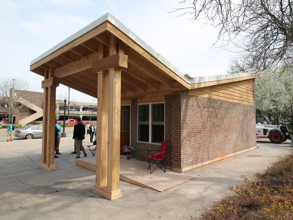 The winning design for the American Institute of Architects' competition to design a tiny house community for Chicago was built in two days and displayed at the University of Illinois, Chicago campus.