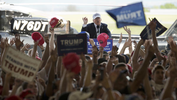 Republican presidential candidate Donald Trump speaks during a campaign rally in Hagerstown, Md., on Sunday.