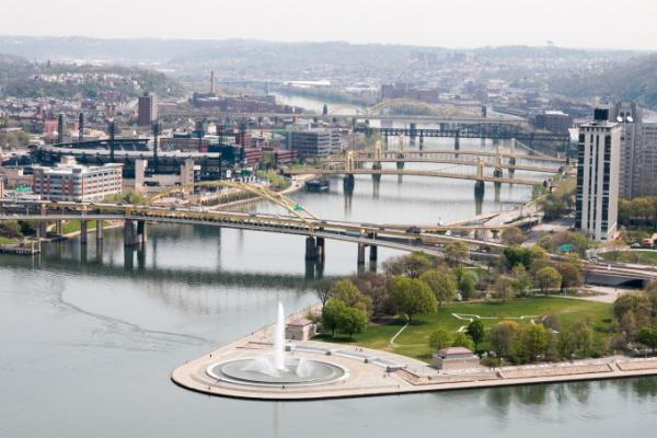More than 440 bridges are in use in the city of Pittsburgh, including at least six shown here crossing the Allegheny River. From foreground to background: Fort Duquesne Bridge, Roberto Clemente Bridge, Andy Warhol Bridge, Rachel Carson Bridge, Veterans Bridge, David McCullough Bridge. (Dean Russell/Here & Now)