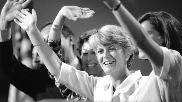 Democrat Geraldine Ferraro waves from the podium after accepting the vice presidential nomination at the the Democratic National Convention in 1984.