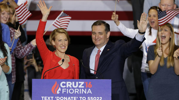 Republican presidential candidate Sen. Ted Cruz is joined by former Hewlett-Packard CEO Carly Fiorina during a rally in Indianapolis on Wednesday. Cruz announced he has tapped Fiorina to serve as his running mate.