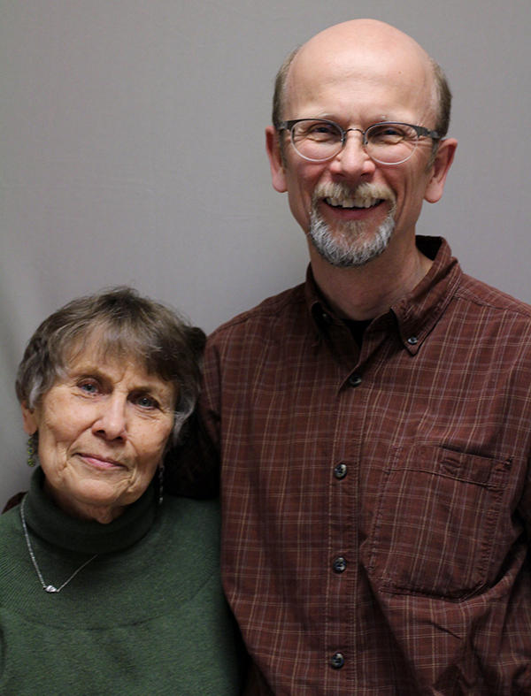 Sharon Long with Steve Sutter, on a visit with StoryCorps in Laramie, Wyo.