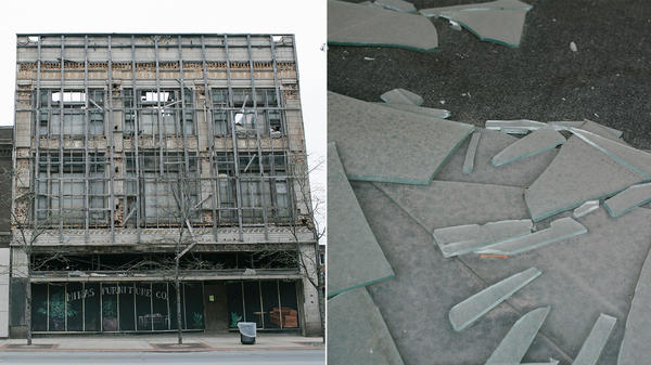 Left: The decrepit Mina's Furniture Co. on Broadway Street in downtown Gary. Right: Glass shards in a broken storefront window on Broadway in downtown Gary, Indiana.