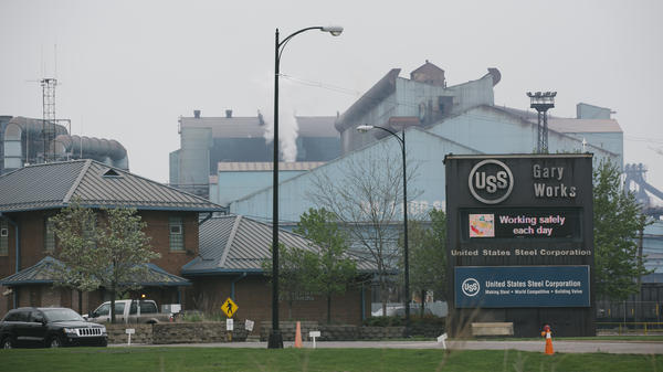 The Gary Works Steel Mill looms against a cloudy sky Wednesday, April 27, 2016 in Gary, Indiana. U.S. Steel closed the coke plant in May of last year.