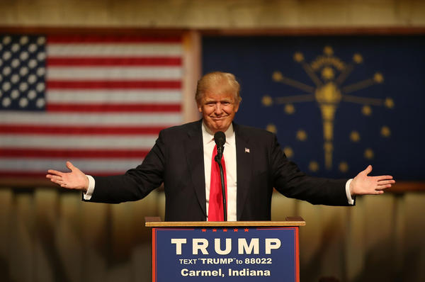 Donald Trump speaks during a campaign stop in Carmel, Ind., on Monday.