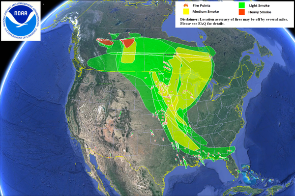 NOAA's Hazard Mapping System shows the smoke from the Alberta wildfire across the United States.