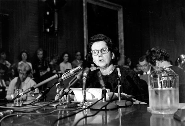 <em>Silent Spring</em> author Rachel Carson testifies before a Senate panel on pesticides in 1963.