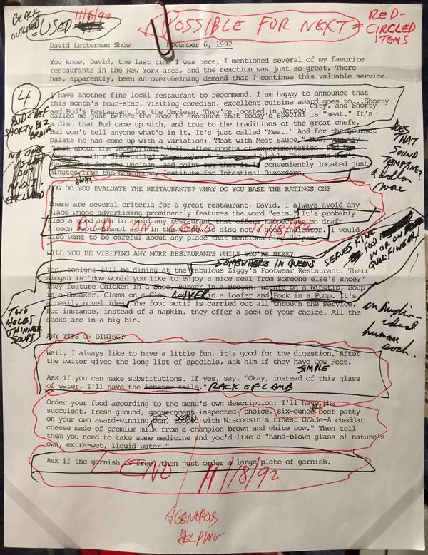 George Carlin's marked-up script for a 1992 appearance on the <em>Late Show With David Letterman</em>.